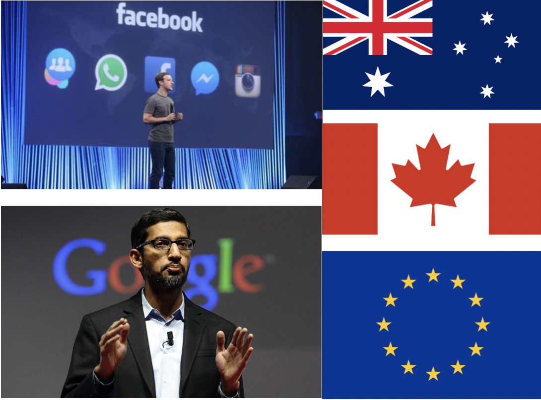Google Facebook vs EU Canada Australia